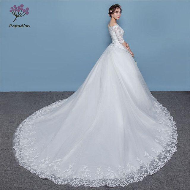37398fa7e Popodion de media manga boda vestido de novia vestido de boda de lujo de  cola larga