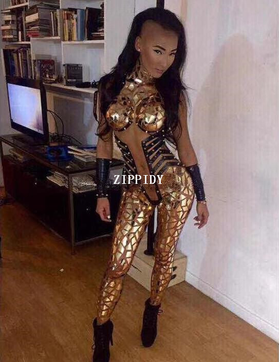 Sexy Gold Sequins Jumpsuit Bright Evening Outfit Party Glisten Crystals Bodysuit Costume One piece Designed Stage