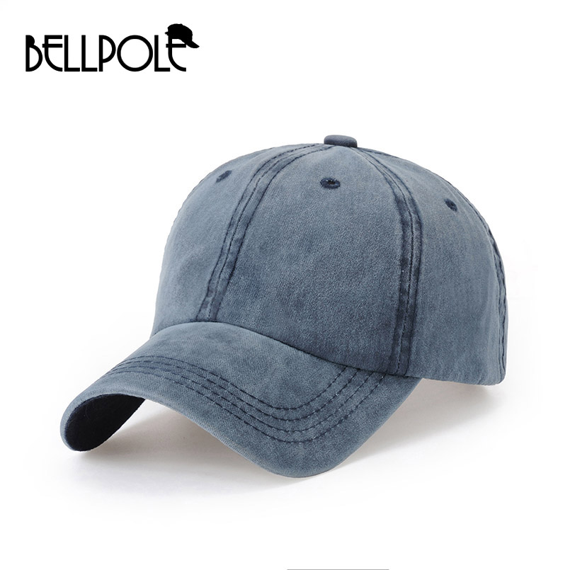 New High Quality Washed Cotton Caps Adjustable Solid Color Jeans Baseball Cap Unisex Leisure Hat Snapback Cap