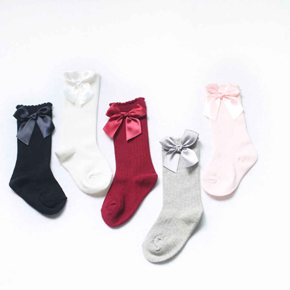 Toddler Kid Baby Girl Long Socks Knee High Bow Casual Solid Newborn Kids Children Sock 0-4T Cotton Cute Lovely Gifts New