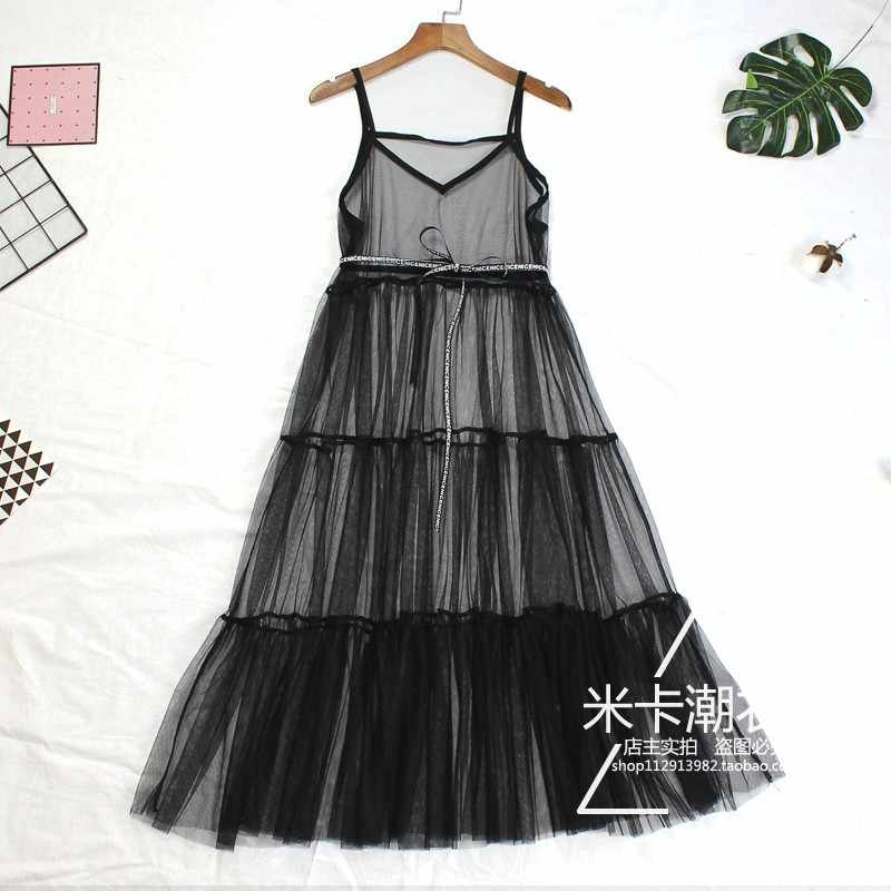 Women Summer Mesh Dress Ladies Casual Sexy Elegant Beach Lace Patchwork Loose Transparent Spaghetti Strap Black White Dress 442