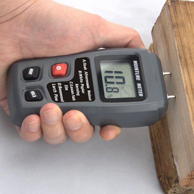 0 ~ 99.9% Rabatte Verkauf -0.1%/genauigkeit 0.5% Bereich Marke Digital Holzfeuchte-messgerät Holzfeuchte Messwerkzeug Holz Feuchten Detectorresolution