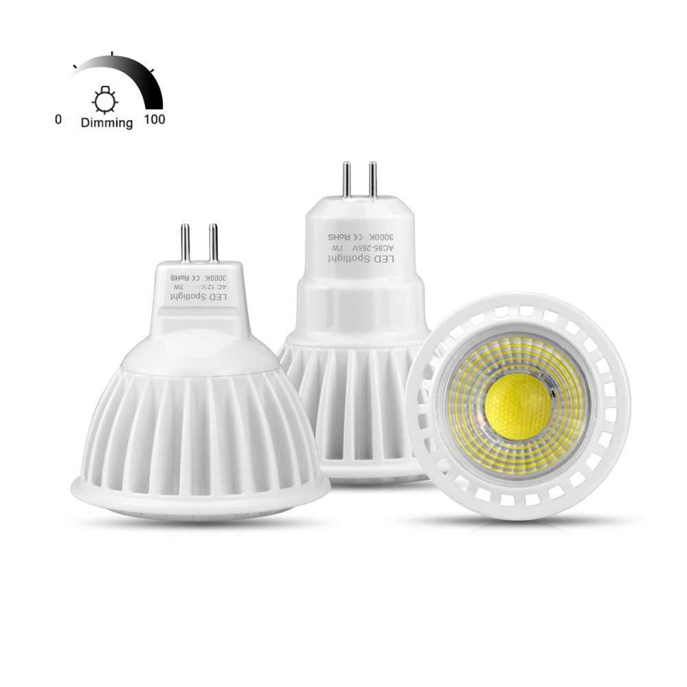 MR16 LED 12V AC/DC Spot light Bulb GU 5.3 MR16 Dimmable lamp GU5.3 COB 110V 220V 3W 5W 7W Spotlight AC 85V- 265V Aluminum luz