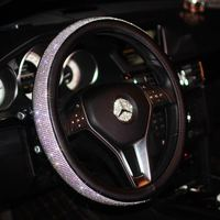 Luxury Car Steering Wheel Cover For Women Girls Leather Crystal Rhinestone Covered Steering Wheel Covers Interior