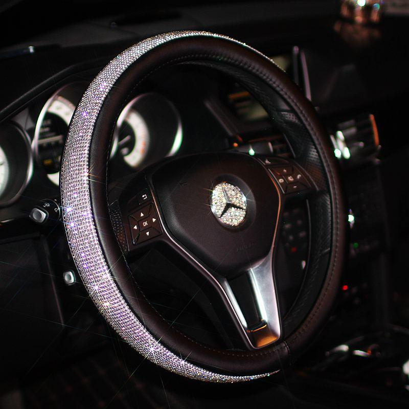 buy luxury car steering wheel cover for women girls leather crystal rhinestone. Black Bedroom Furniture Sets. Home Design Ideas