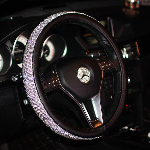Luxury Car Steering Wheel Cover For Women Girls Leather Crystal Rhinestone Covered Covers