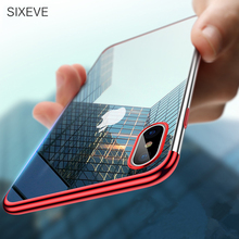 ФОТО sixeve bling soft silicone coque case for iphone 7 plus 7plus 8 8plus 6 6s 6plus plating shining cover for iphone x