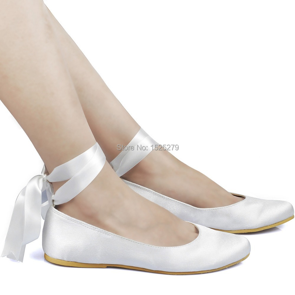 Ep11105 White Ivory Woman Wedding Flats Lace Up Round Toe Comfort Ribbon Tie Ballet Satin Lady S Evening Party Bridal Shoes In Women From