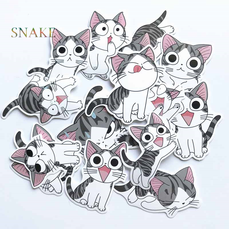 14pcs Cheese Cat Sticker Pvc Cute Kitty Suitcase Skateboard Laptop Stickers Motorcycle Diy Home Decor Decal Kids Toy Decals