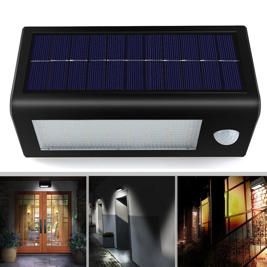 32 led wall light sensor de movimento pir solar ao ar livre luz solar 18650 bateria