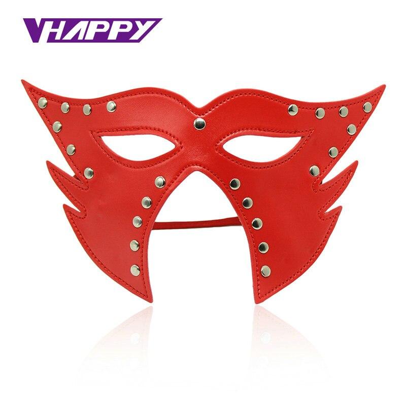Opção 2 Cores de Couro PU Sensuais Jogos de Sexo Máscaras Máscaras de Olho Blindfold Unisex Tamanho Ajustável Peso Leve olho remendo VP-EM008023A