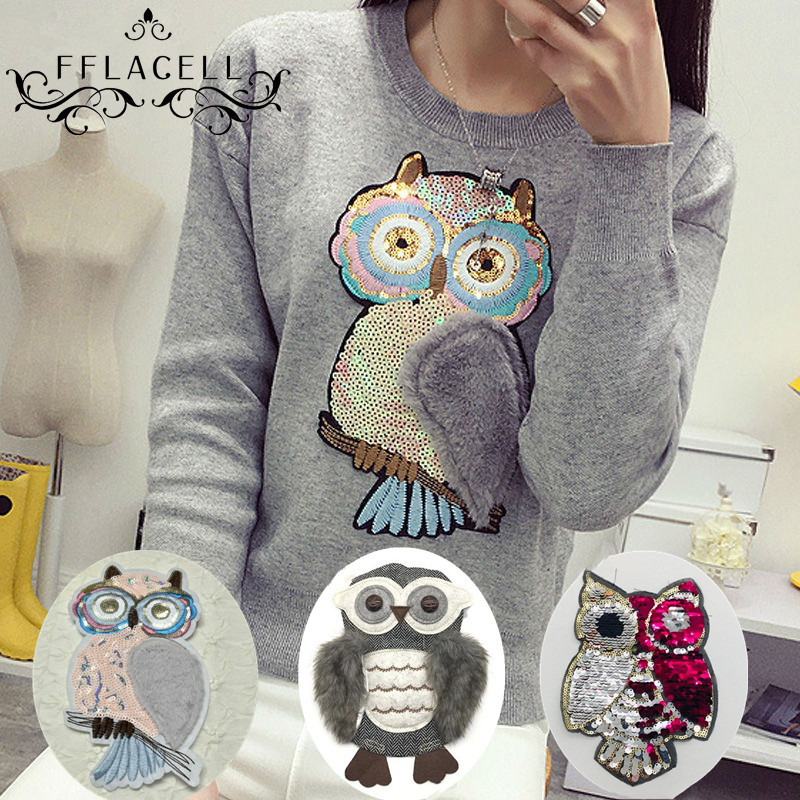 FFLACELL Paillette Large owl Fabric Applique DIY Embroidery Sequin Patches for clothing