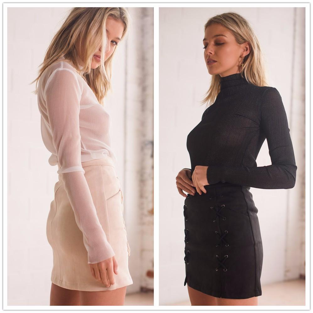 HTB1hKNjNVXXXXamapXXq6xXFXXX9 - FREE SHIPPING line High Waist Suede Leather Skirt Women Solid Lace up JKP299