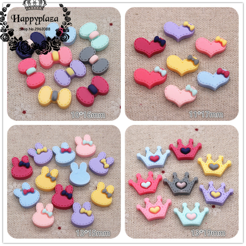 50PCS Mix Colors Cute Resin Bow/Heart/Crown/Rabbit Flat Back Cabochon DIY Jewelry/Craft Scrapbook Decoration