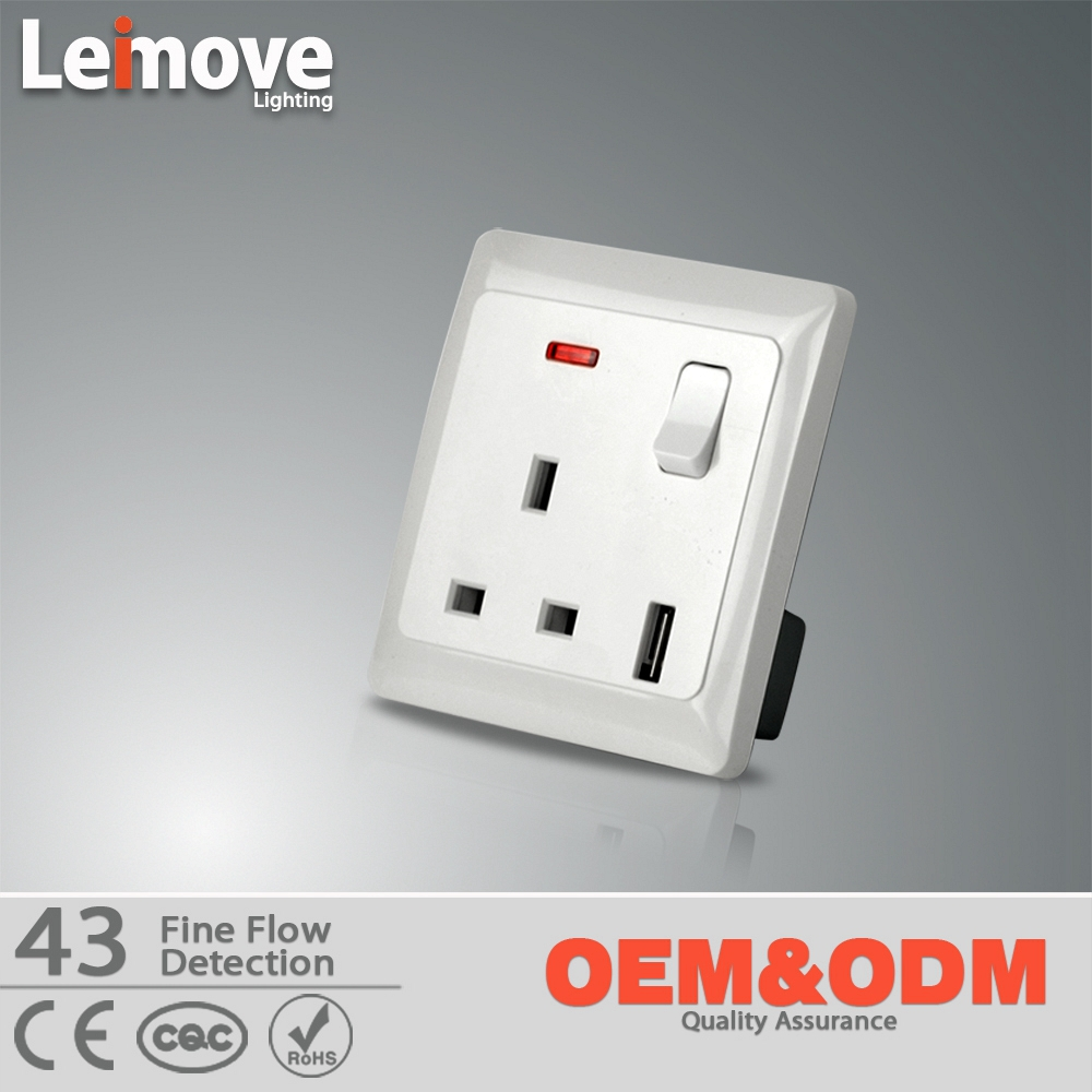 universal Brushed Metal Panel wall Socket Power Outlet US EU UK CN ...