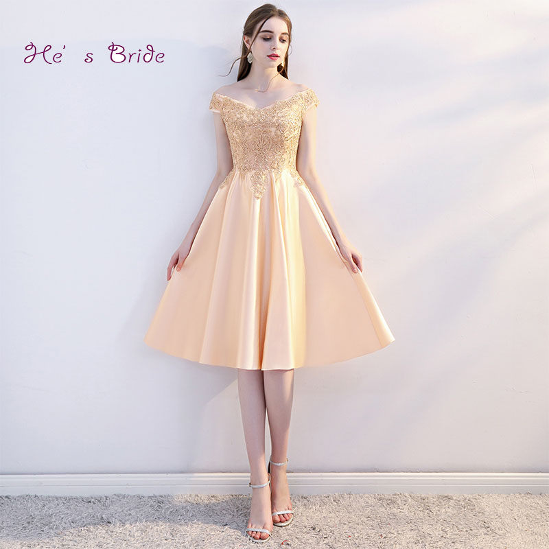 0459e77594a8b US $78.0 |He's Bride New Elegant Gold Cocktail Dress V neck Sleeveless  Appliques A line Knee length Party Formal Dresses Robe De Soiree-in  Cocktail ...