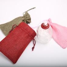 100Pcs Drawstring Bags 10*15Cm Jewelry Wedding Party White Green Pink Linen Pocket Drawstring Gift Bags Wholesale