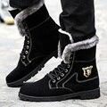 High top homens quentes Da Motocicleta botas de camurça botas de neve de inverno masculina à prova d' água preta ankle boots de pelúcia 840 35