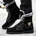 high top warm men Motorcycle boots suede winter male snow boots waterproof black plush ankle boots 840 35
