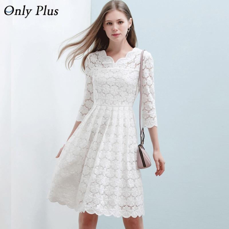 ONLY PLUS Tenké bílé krajkové bavlněné šaty Hollow Out Draped Lap Ženy šaty Neformální Dlouhé Dámské Šaty župan longue femme