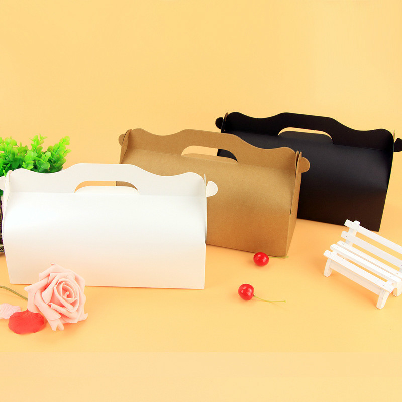 10 Pcs Gift Paper Boxes Muffin Mousse Cake Roll Kraft Paper Box Wedding Candy Cookies Party Birthday Gift Packaging Box Handle