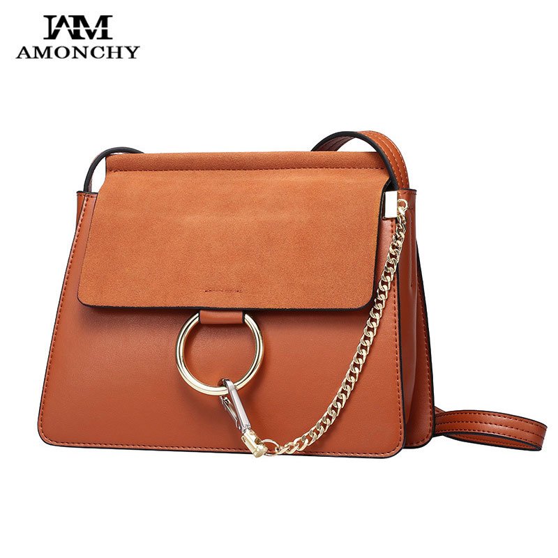 100% Genuine Leather Women Messenger Bags Designer Brand Shoulder Crossbody Bags Nubuck Leather Lady Bag Metal Ring Chain Clutch women messenger bags 2015 100% crossbody women bag