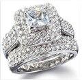 NOVO Conjunto de Jóias de alta qualidade Anéis De Casamento par de Ouro Branco Para As Mulheres priness cut anel de pedras