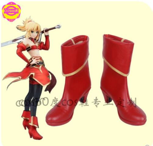 Game Fate/Apocrypha Saber Mordred Cosplay Costume Shoes Red Boots For Halloween Christmas Party Boots New Customized