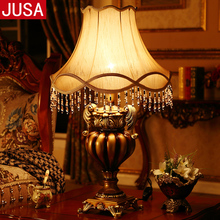 European Vintage Resin Table Lamp for Living Room Remote Control Adjustable Lighting Bedroom Bedside