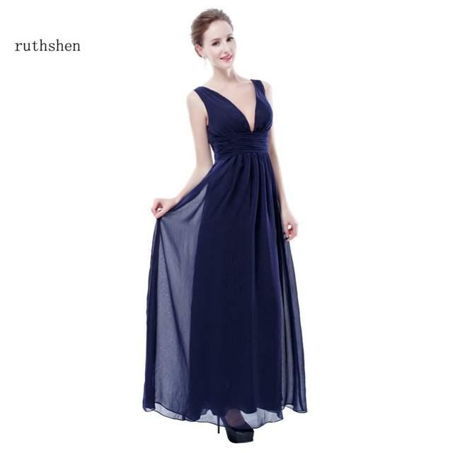 ruthshen 2018 Bridesmaid Dresses Long Cheap Chiffon V-Neck Sexy Purple    Wine Red   1f5600172ea5