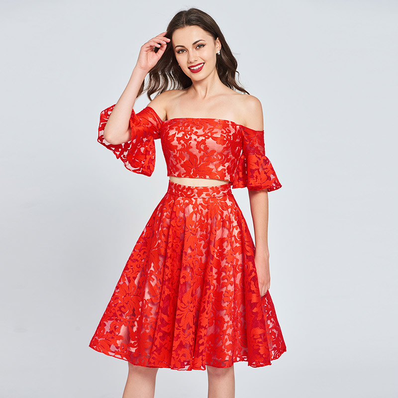 a4c851a9e96 Tanpell off the shoulder homecoming dresses red lace knee length a line  gown women cocktail party short custom homecoming dress