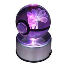 Crystal Table Lamps For Living Pokeball Sela Design Go Laser 9 Vulpix Engraved Led Rotating Base Children Like 3d Nightligh(China)