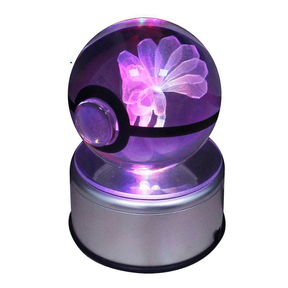 Lampes de Table en cristal pour vivre Pokeball Sela Design Go Laser 9 Vulpix gravé Led Base rotative enfants comme 3d Nightligh