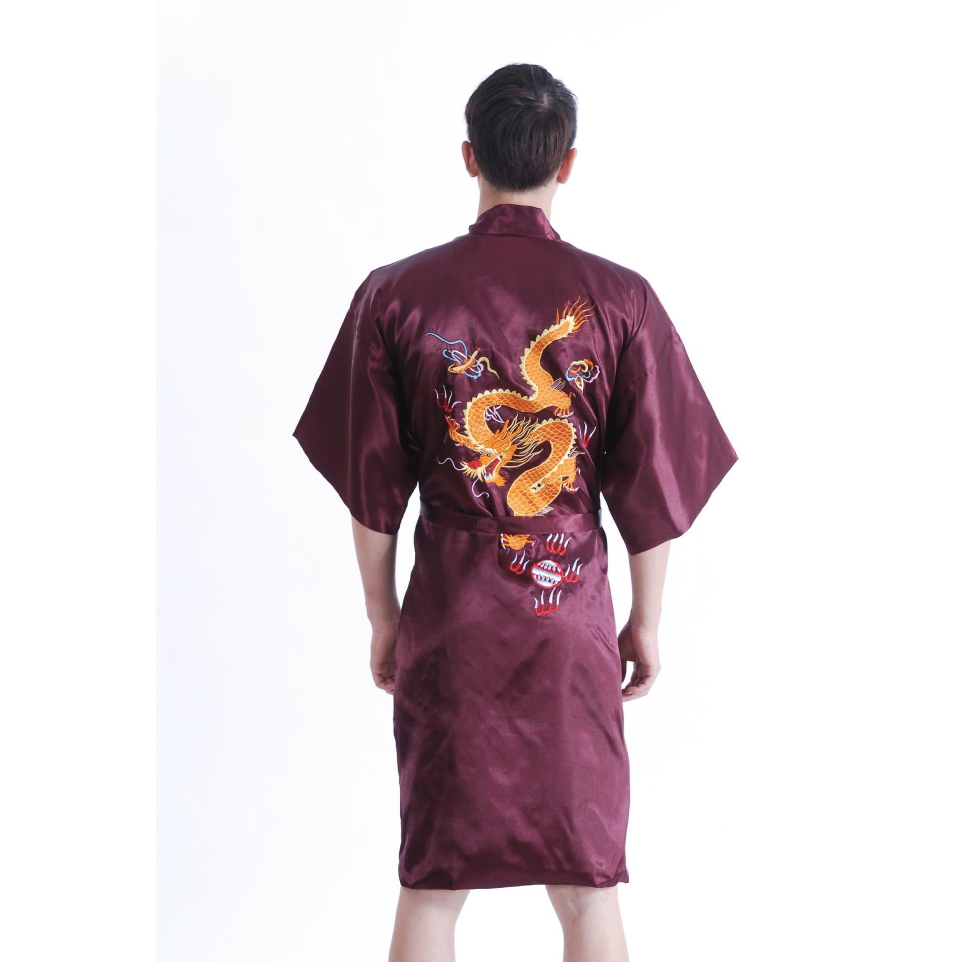 S Thai Silk-Blend Child/'s Robe Kimono Mauve Reversible Dragon//Unisex New