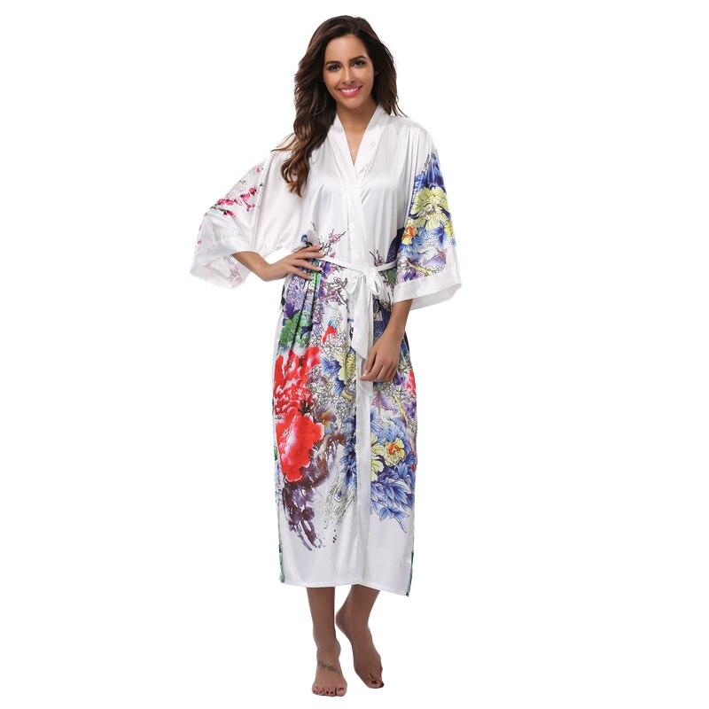 4a3bdaf8a Mujeres Albornoz camisón largo kimono robe novia vestido de dama para la  boda más tamaño ropa de dormir impresa flor larga Albornoces en Túnicas de  Ropa ...
