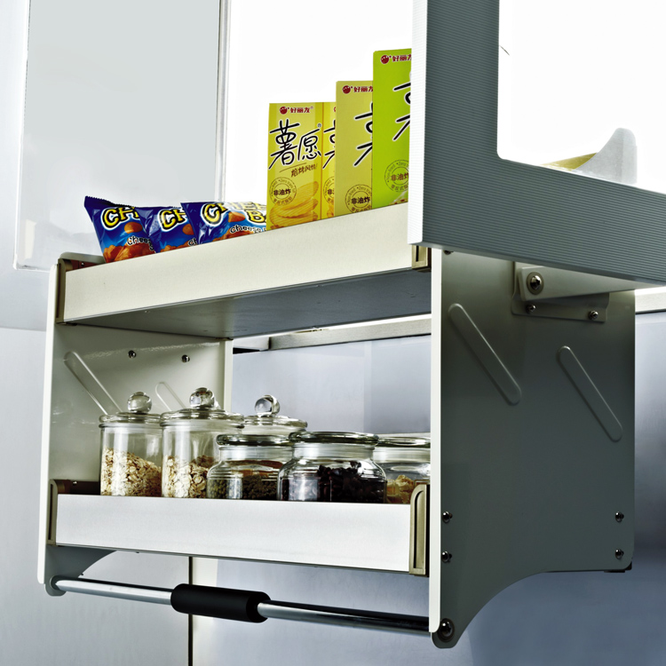 Cabinet afterburner storage Stainless steel hanging cabinet Lifting damping pull basket Upper cabinet double buffer lift stainless steel kitchen work food prep table stainless steel kitchen storage cabinet steel cabinet