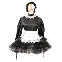 Sissy Black Satin Maid Dress lockable French Uniform Costume Foe Men Women