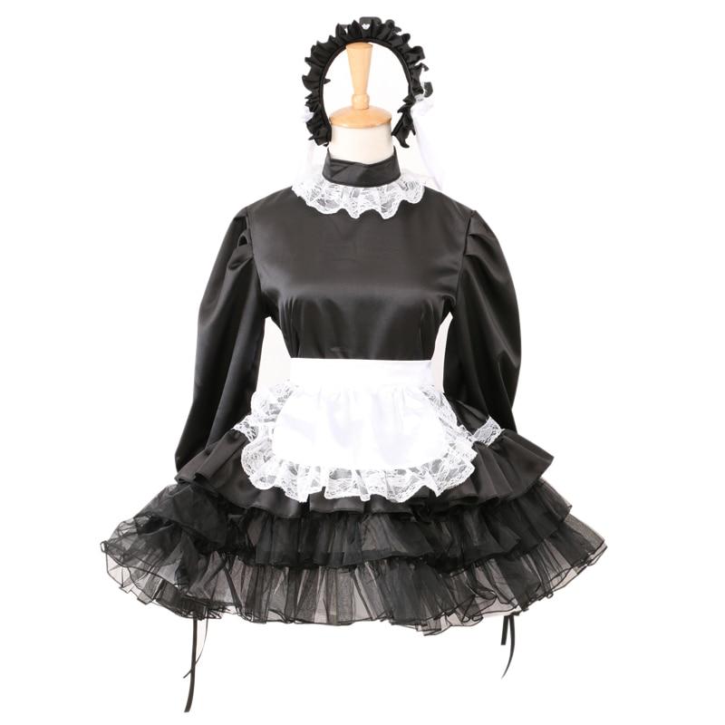 Sissy black satin maid dress lockable french uniform costume foe men sissy black satin maid dress lockable french uniform costume foe men women on aliexpress alibaba group solutioingenieria Gallery
