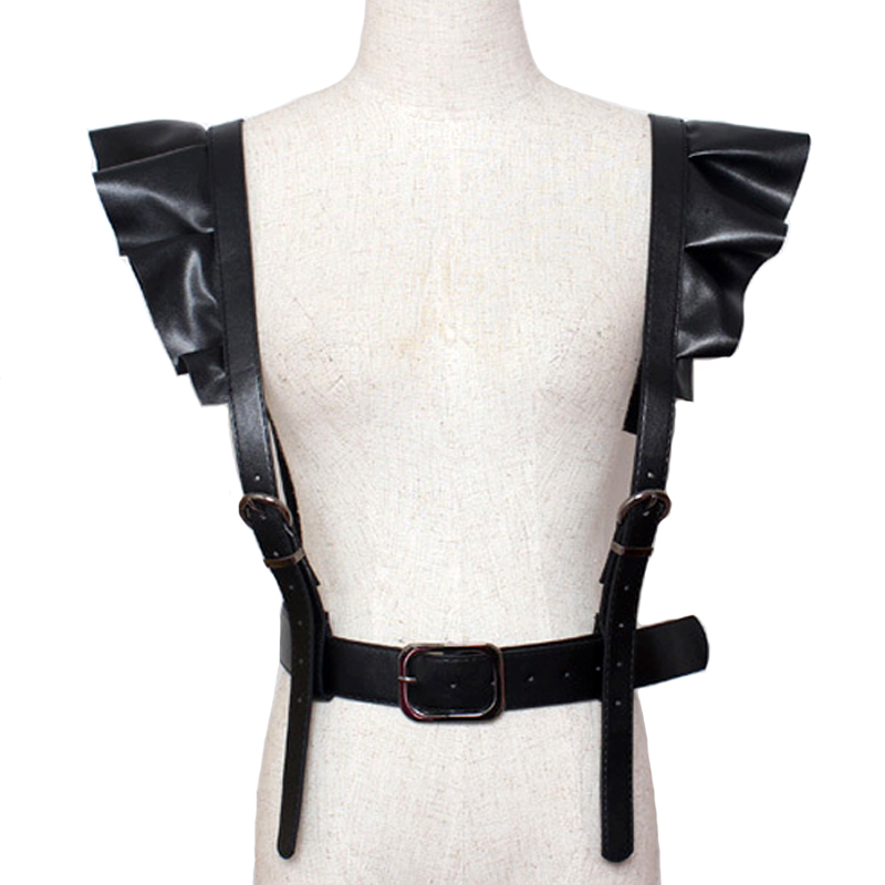 2017 hot new Personality Shoulders sexy Belt Faux Leather Body Bondage Corset female Harness Waist Belt Straps Suspenders Belt
