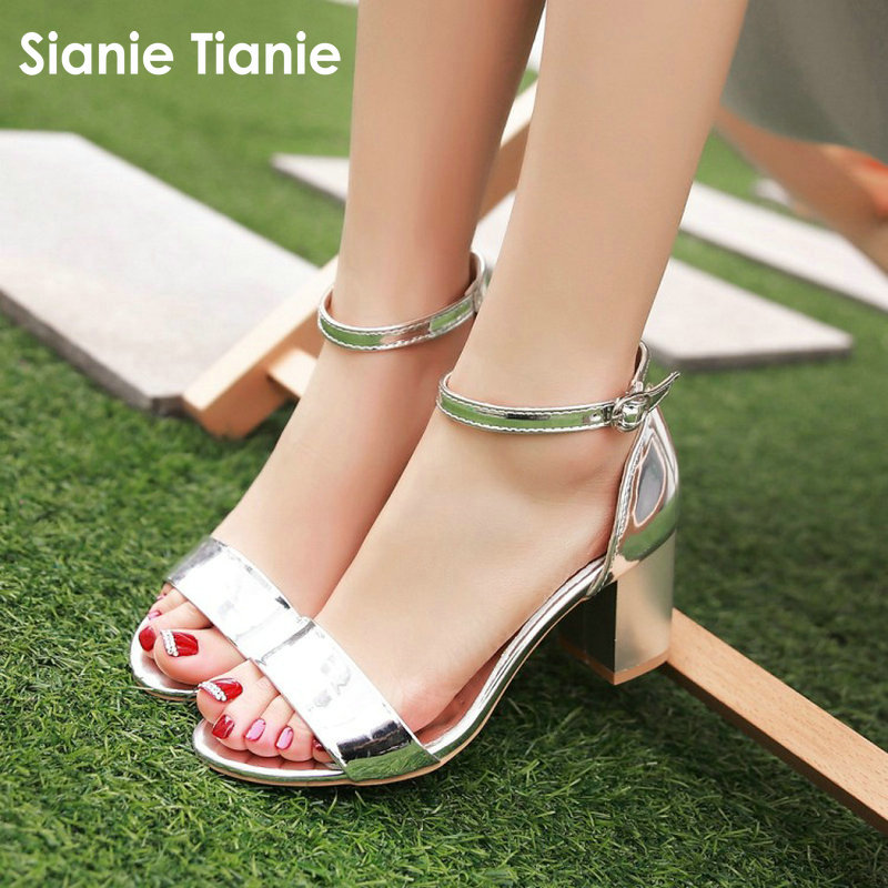 Sianie Tianie Patent PU Open Toe Woman Summer Shoes Silver Gold Pink Buckle Strap Block High Heels Women Sandals Plus Size 44 45