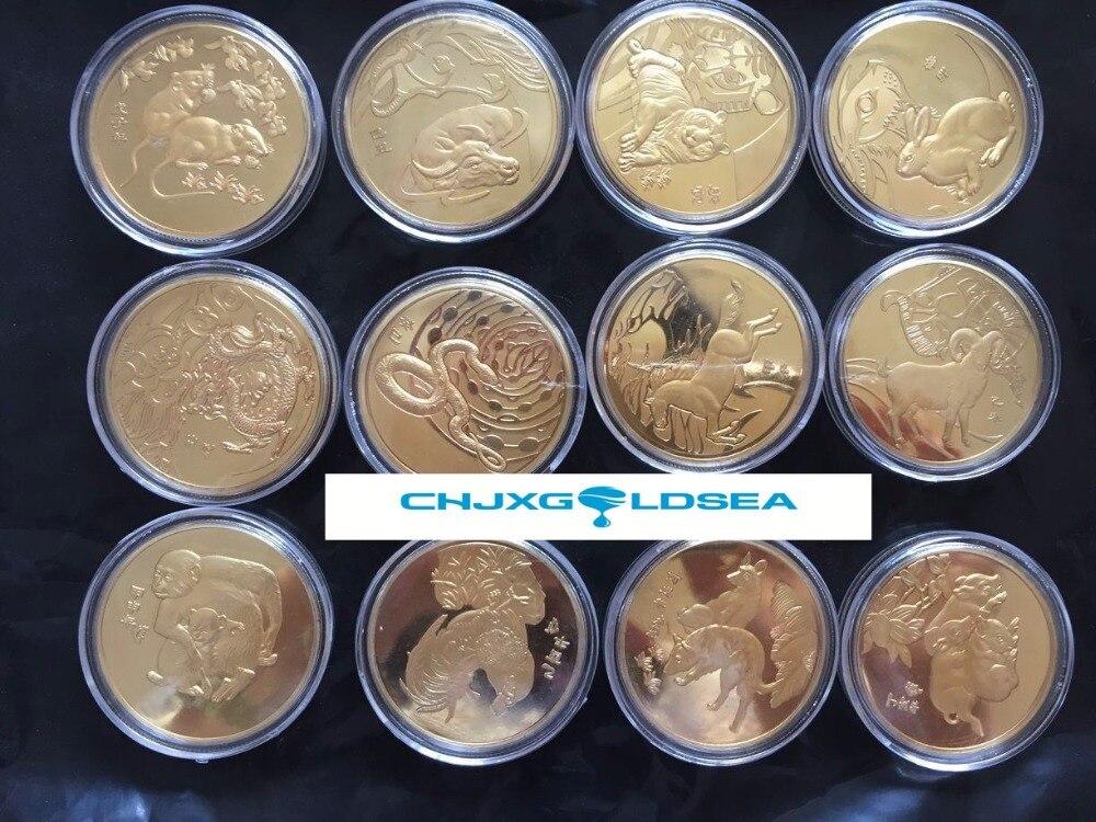 12 zodiaku zwierząt monety mysz/bull/tygrys/królik/smok/wąż/koń/owce/ małpa/kurczaka/pies/świnia CoinsCoin prezent prezent w Monety bezwalutowe od Dom i ogród na AliExpress - 11.11_Double 11Singles' Day 1