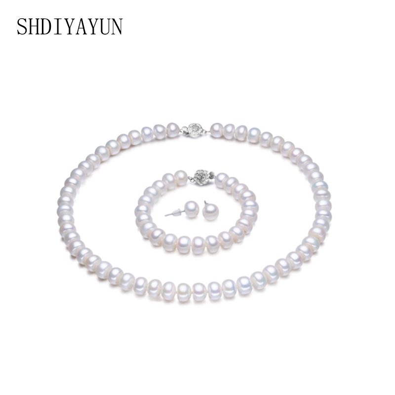 SHDIYAYUN Fine Jewelry Set Natural Freshwater Pearl 925 Sterling Silver Necklace Earrings Bracelet Jewelry Set For Women Gift crystal jewelry set sterling silver jewelry 100% 925 formal jewelry set natural freshwater pearl
