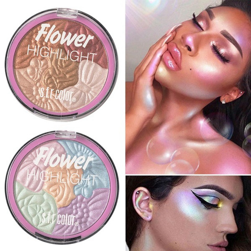 Brand 5 Color Flower 3D Baked Highlighter Palette Bronzer Highlighting Glow Makeup Shimmer Rainbow Highlight Illuminator Contour