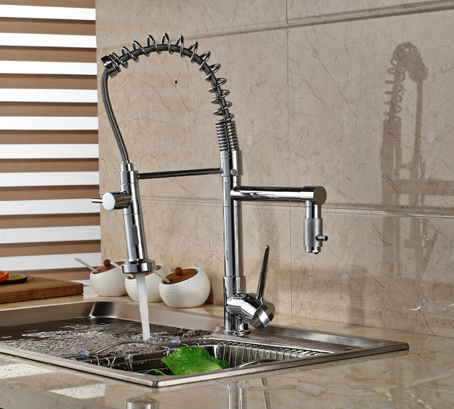 Swivel Spout Chrome Brass Kitchen Faucet Dual Sprayer Vessel Sink Mixer Tap Hot and Cold Water antique brass swivel spout dual cross handles kitchen