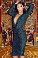 Commercio all'ingrosso 2018 Nuovo Vestito verde Scuro Profondo Scollo A V maniche Lunghe Paillettes donna Sexy Cocktail party vestito dalla fasciatura (L2283)
