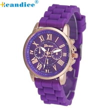 Supper Enjoyable Scorching Style Geneva relogio feminino Luxurious Geneva Ladies Silicone Analog Quartz Wrist Watch Jan13