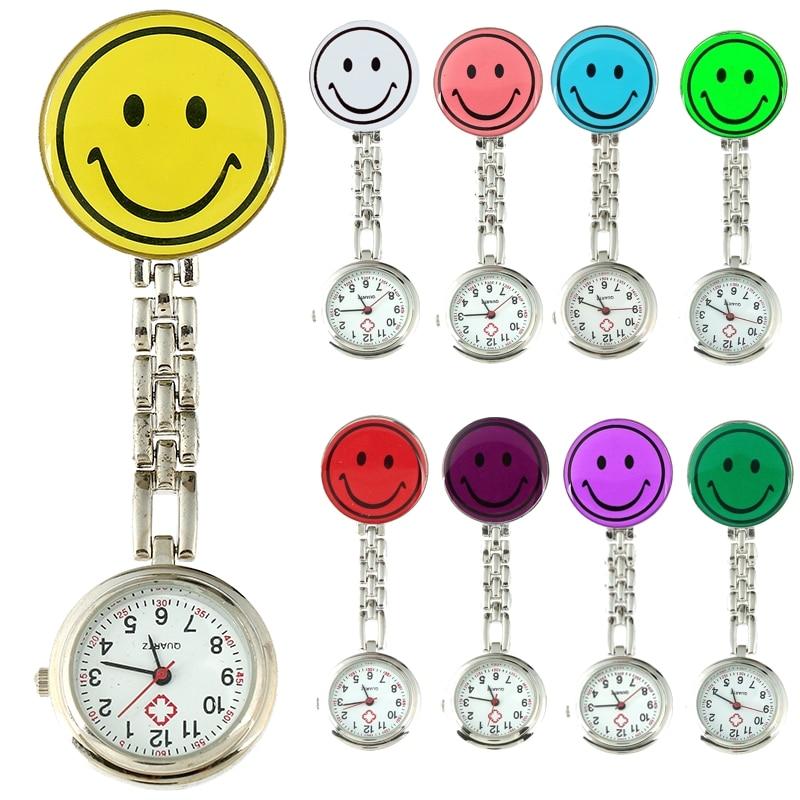 Top metal nurse watch smiling face charm brooch women medical military analog quartz dial