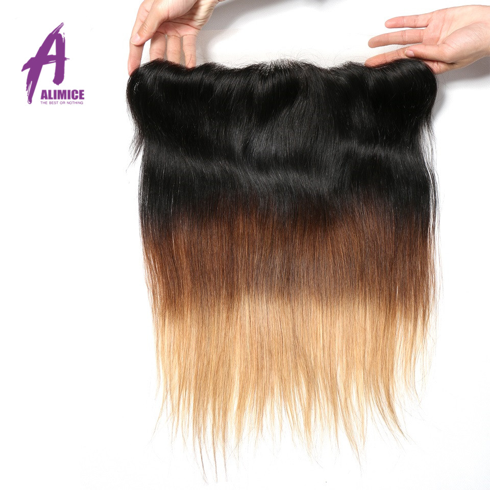 Ombre Peruvian Straight Lace Frontal 3 Tones T1B427 Human Hair Closure With Baby Hair T1B430 Non Remy 8-24inch Alimice  (5)