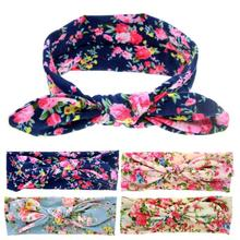 Yundfly Baby Girls Flower Print Headbands Children Infant Cute Rabbit Ear Headwraps Cotton Blend Bow Kont Hair Accessories
