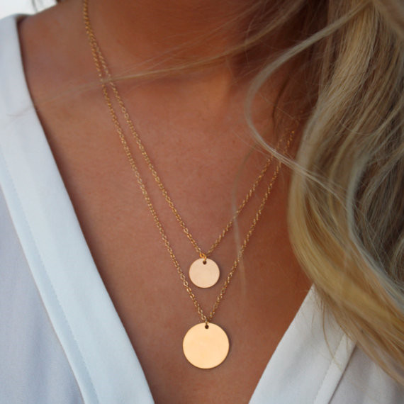 AE-CANFLY Double Gold Layered Chain Necklace Hammered Disc Round Sequin Coin Nec